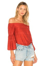 1.State Off Shoulder Bell Sleeve Blouse Red