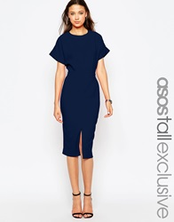 Asos Tall Exclusive Split Front Dress With Wrap Back Navy