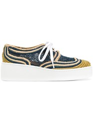 Robert Clergerie Woven Platform Sneakers Blue