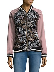 Goldie Embroidered Floral Bomber Jacket Multi