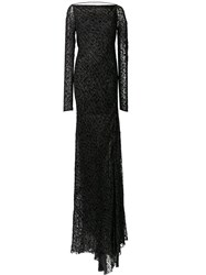 Edun Grammar Velvet Draped Back Dress Black