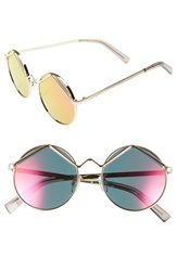 Le Specs 'Wild Child' 52Mm Sunglasses Gold Pink Mirror