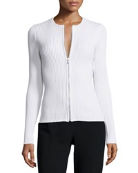 Opening Ceremony Zip Front Ribbed Cardigan White