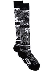 Ktz Greek Intarsia Knee High Socks Black