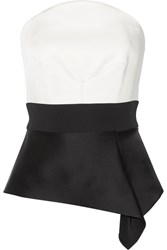 Roland Mouret Penn Asymmetric Satin And Crepe Bustier Top White