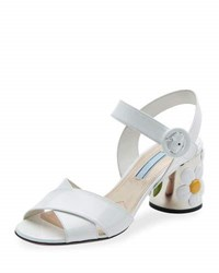 Prada Patent Leather Flower Heel Sandal White Bianco