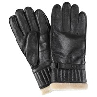 Barbour Leather With Faux Fur Gloves Black