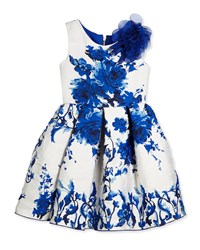 Zoe Sleeveless Floral Brocade Party Dress White Royal