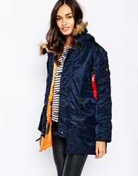 Alpha Industries N3b Vf Parka Coat With Faux Fur Hood And Contrast Lining Navy