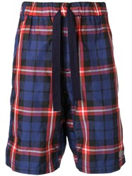 White Mountaineering Checked Shorts Blue