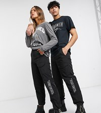 Reclaimed Vintage Inspired Unisex Utility Trouser With Branded Taping Black