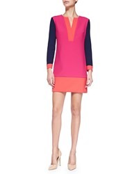 Diane Von Furstenberg Millie Long Sleeve Colorblock Mini Dress Women's Tango Fuchsia