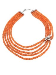 John Hardy Legends Cobra Peach Moonstone Citrine And Sterling Silver Beaded Multi Strand Necklace Silver Peach