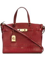 Polo Ralph Lauren Embossed Crocodile Effect Tote Red