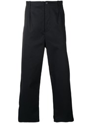 Les Hommes Loose Fit Straight Trousers Black