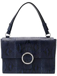 Orciani Structured Tote Bag Snake Skin Blue
