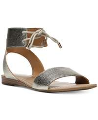 Franco Sarto Glenys Lace Up Flat Sandals Women's Shoes Pewter