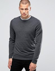 Jack And Jones Premium Slim Merino Crew Knit Jumper Dark Grey Melange