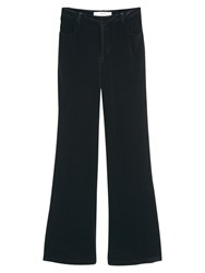 Mango Flared Velvet Trousers Black