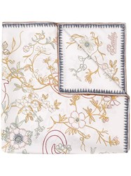 Bally Floral Embroidered Scarf White