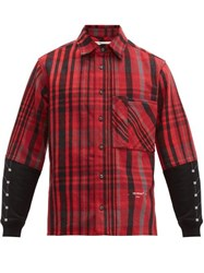 Off White Contrast Panel Checked Cotton Blend Shirt Black Red