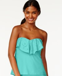 Hula Honey Ruffle Popover Bandeau Tankini Top Women's Swimsuit Aqua