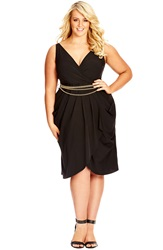 City Chic 'Sexy Pleat' Belted Sleeveless Faux Wrap Dress Plus Size Black