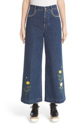 Stella Mccartney Women's Nashville Studded And Embroidered Flare Crop Jeans