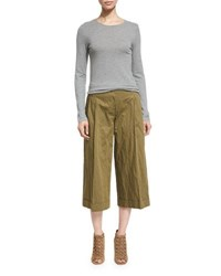 Michael Kors Pleated Front Wide Leg Cropped Pants Juniper