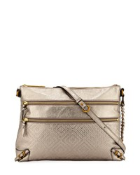 Elliott Lucca Mari Metallic Leather Shoulder Bag Medium Gray