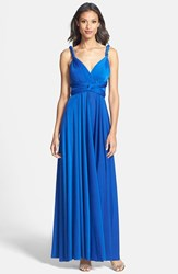 Women's Dessy Collection Convertible Front Twist Jersey Gown Sapphire