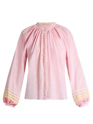 Bliss And Mischief Ric Rac Trimmed Cotton Blouse Light Pink