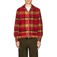 Paul Smith Plaid Wool Blend Flannel Jacket Red