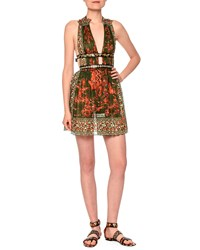 Valentino V Neck Mini Dress W Banded Waist Orange Green