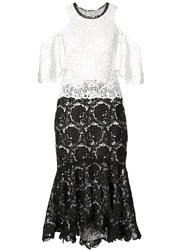 Monique Lhuillier Cold Shoulder Lace Dress Women Silk 14 Black
