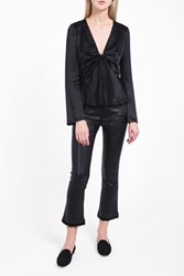 Alexander Wang T By Women S Hammered Front Knot Top Boutique1 Black