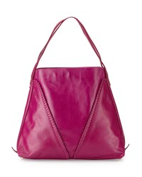 Neiman Marcus Made In Italy Whipstitch Leather Slouchy Tote Bag Raspberry
