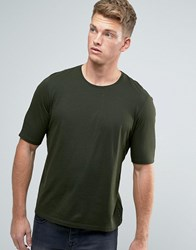 Sisley Crew Neck T Shirt With Back Raglan Detail Kahki 34B Green