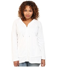 Dkny Plus Size Zip Front Hoodie White Women's Sweatshirt