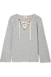 Skin Elyce Lace Up Ribbed Cotton Blend Jersey Top Light Gray