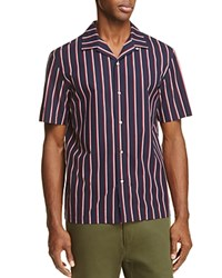 Rag And Bone Cooper Bowling Slim Fit Button Down Shirt Navy Red