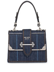 Prada Cahier Denim Handbag Blue