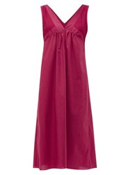 Rossell England Sheer Panelled V Neck Cotton Nightdress Ruby
