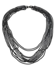 Oscar De La Renta Multi Strand Faux Pearl Necklace Black