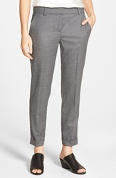 Eileen Fisher Tapered Stretch Wool Ankle Trousers Ash