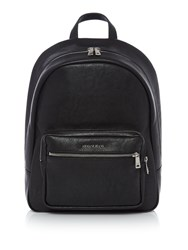 Armani Jeans Metal Plaque Logo Backpack Black