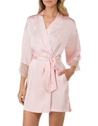H Halston Satin Charmeuse And Lace Short Robe Pink