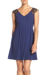Nsr Women's Lace Sleeve Fit And Flare Dress Navy