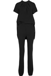Karl Lagerfeld Crepe Chiffon And Twill Jumpsuit Black