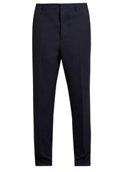 Ami Alexandre Mattiussi Carrot Fit Wool Twill Trousers Navy